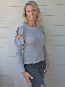 Long Sleeve Cold Shoulder Sweater Top with Ruffled Details