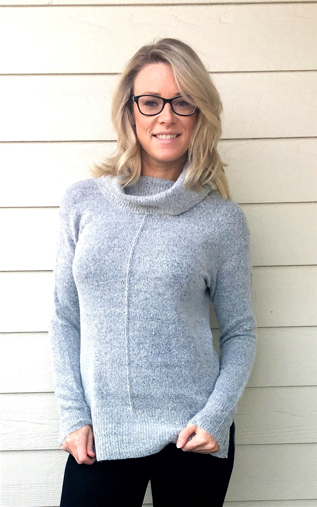 Rib Contrasted Mock Neck, Fuzzy Long Sleeve, Pullover Sweater