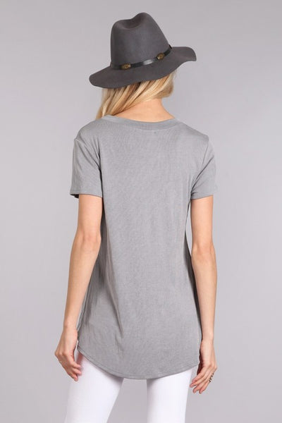 Solid, Waist Length Short Sleeve Top with a Front Cutout