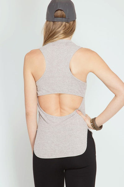 Sleeveless Knit Top with Neck Band and Open Back Detail