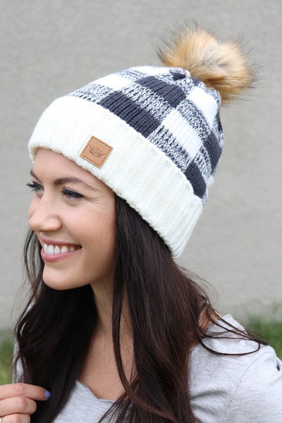 Buffalo Plaid Knit Hat with Pom Accent