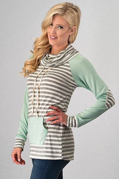 Striped Long Sleeve Hoodie with Solid Pocket & Arm Sleeve Detail & Elbow Patches