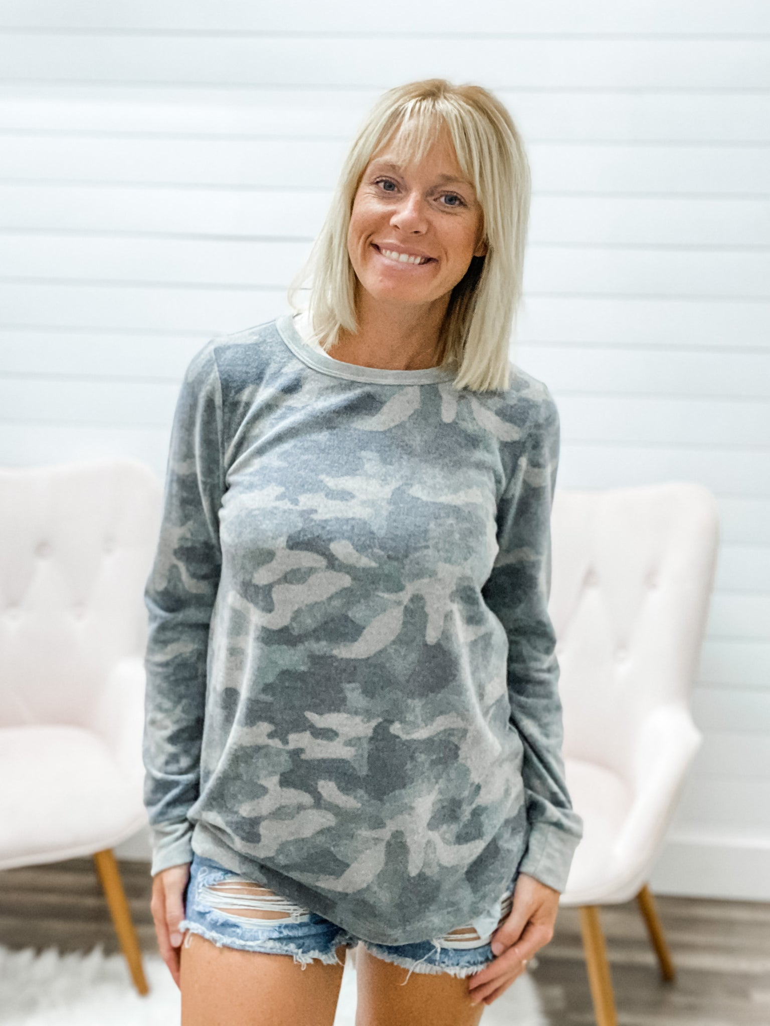 Super Soft Camo Long Sleeve Pullover