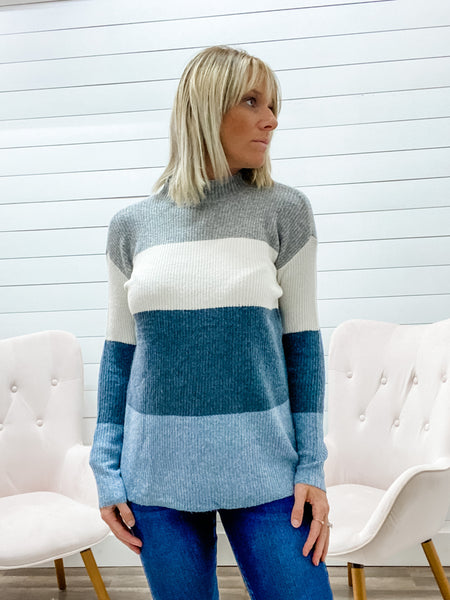 Long Sleeve, Color Block Pullover Featuring a Mock Neck & Side Slits