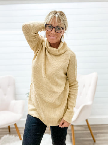 Long Sleeve, Super Soft, Tunic Sweater with Cowl Neck