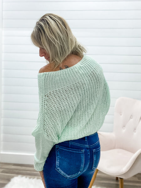 Off Shoulder Long Sleeve Solid Sweater