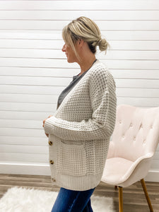 Waffle Cardigan Sweater with Pockets