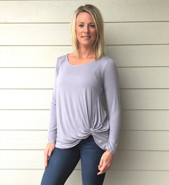 Long Sleeve Top with Side Twist Detail