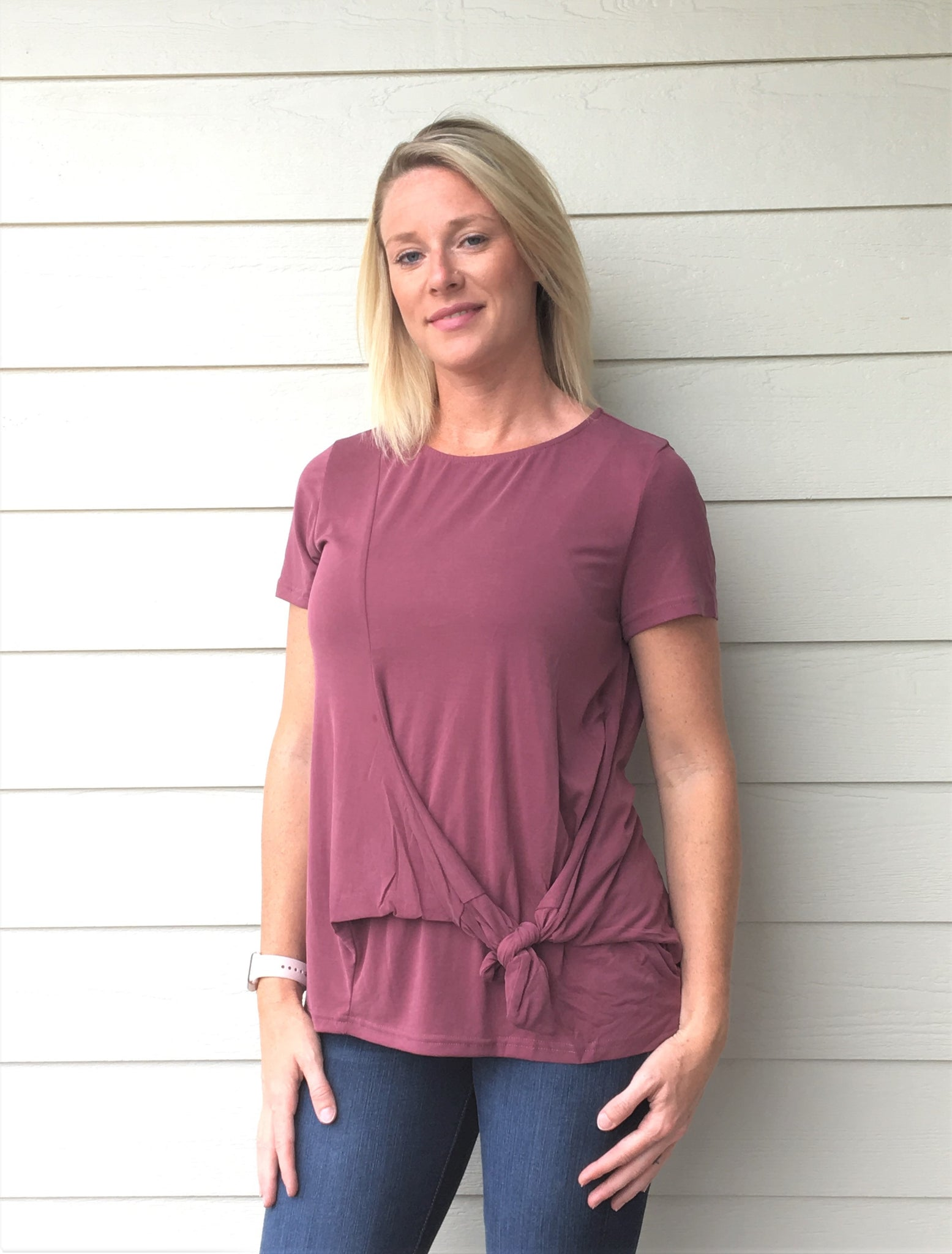 Short Sleeve Modal Cupro Top with Front Side Tie