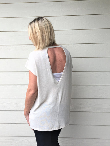 Dropped Shoulder Top with Open Back