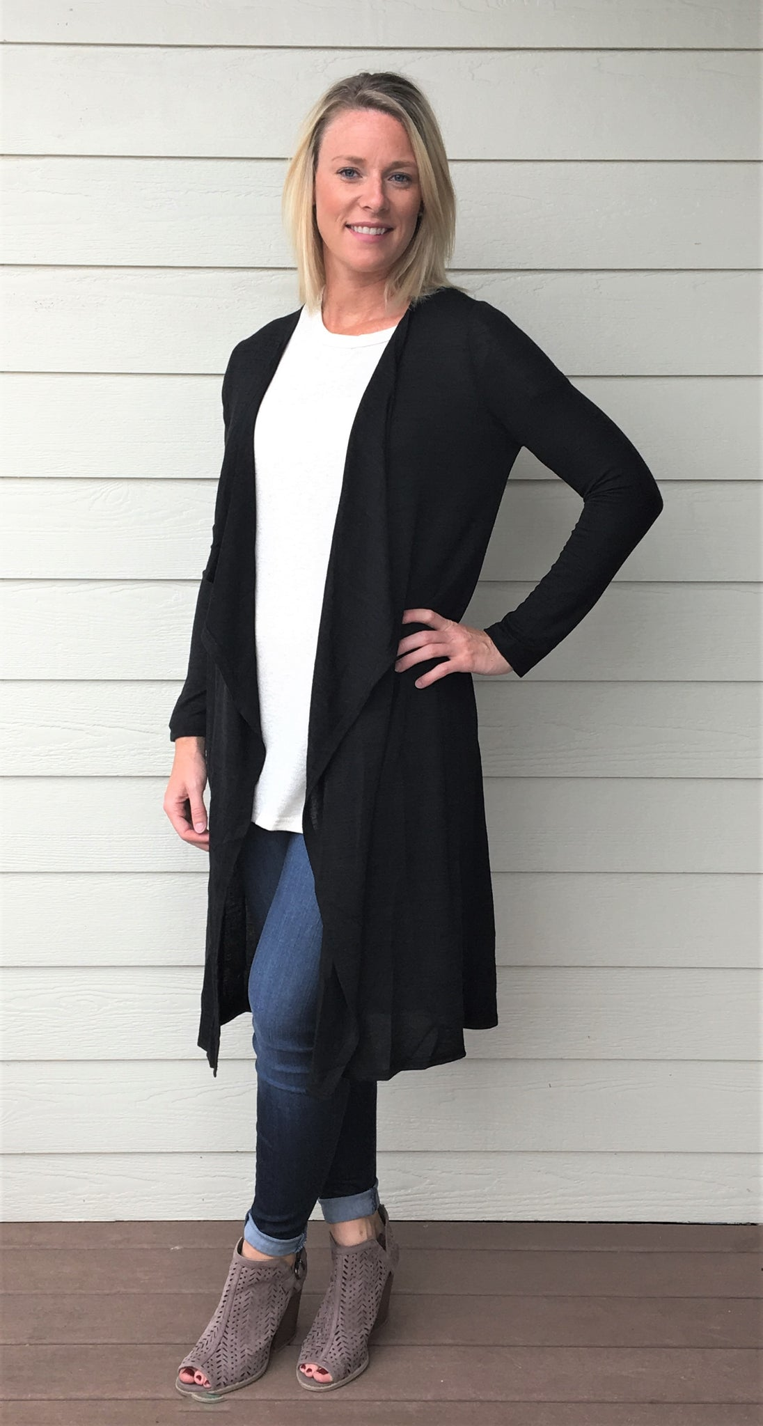 Long Sleeve Hacci Knit Open Cardigan with Waist Sash