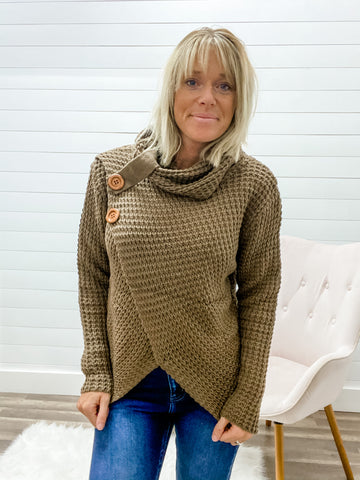 Wrap Asymmetrical Hem Sweater with Wood Button Detail