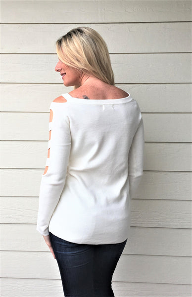 Boat Neck Sweater with Cutout Long Sleeves