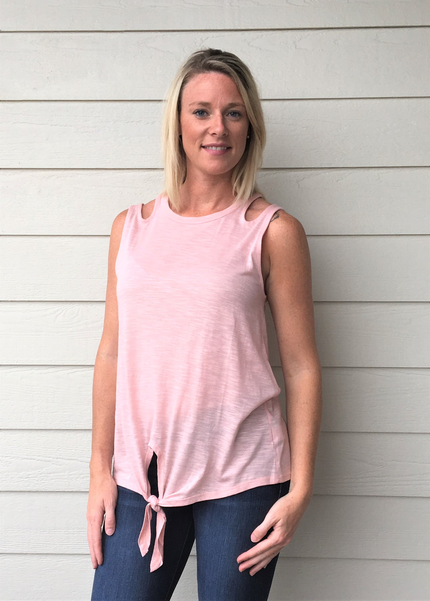 Sleeveless, Slub Knit Fabric Top with Shoulder Cutouts featuring a Front Self-Tie Knot