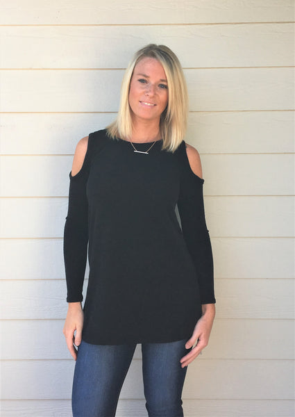 Round Neck, Long Sleeve, Hi-Low Sweater with Cold Shoulder Sleeve