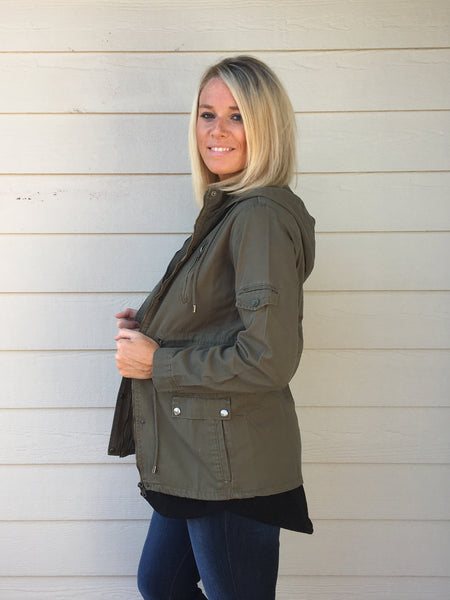 Waist Drawstring Utility Jacket with Hoodie