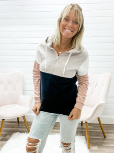 Lightweight Colorblock Pullover with Functioning Zipper