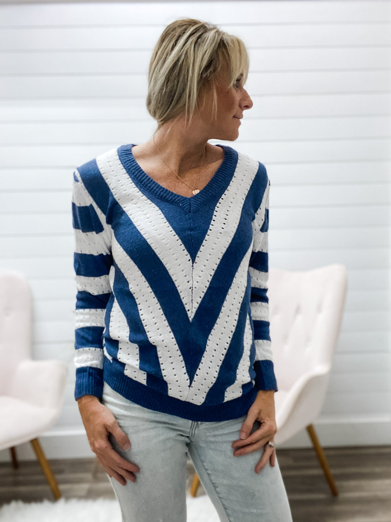 Beautiful V-Neck Top with White Stripe Detail