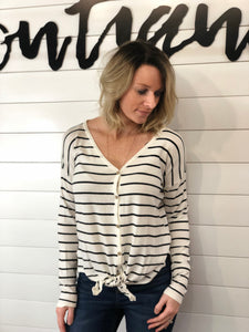 V-Neck, Button Down, Long Sleeve, Side Slits, Tie Front Pullover Top