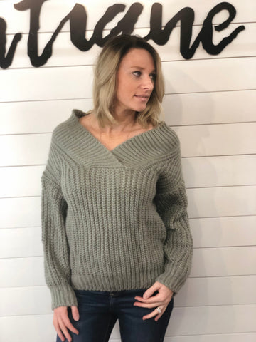 Off Shoulder Cross Cover Cozy Sweater