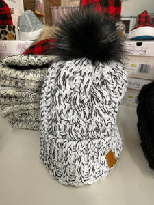 White & Black Fleece Lined Cable Hat with Pom Accent