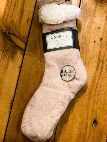 Fleece Lined Winter Socks with Non-Skid Bottoms