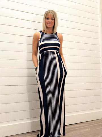 Sleeveless Stripe Two Way Maxi Dress with Pockets