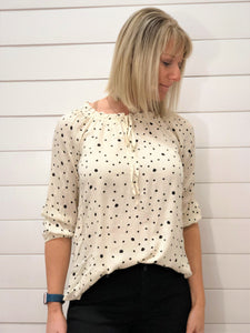 Polka Dot Bardot Neck with 3/4 Elastic Sleeve Blouse