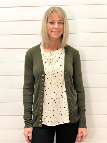 Dark Olive Snap Cardigan with Ribbed Detail Neckline