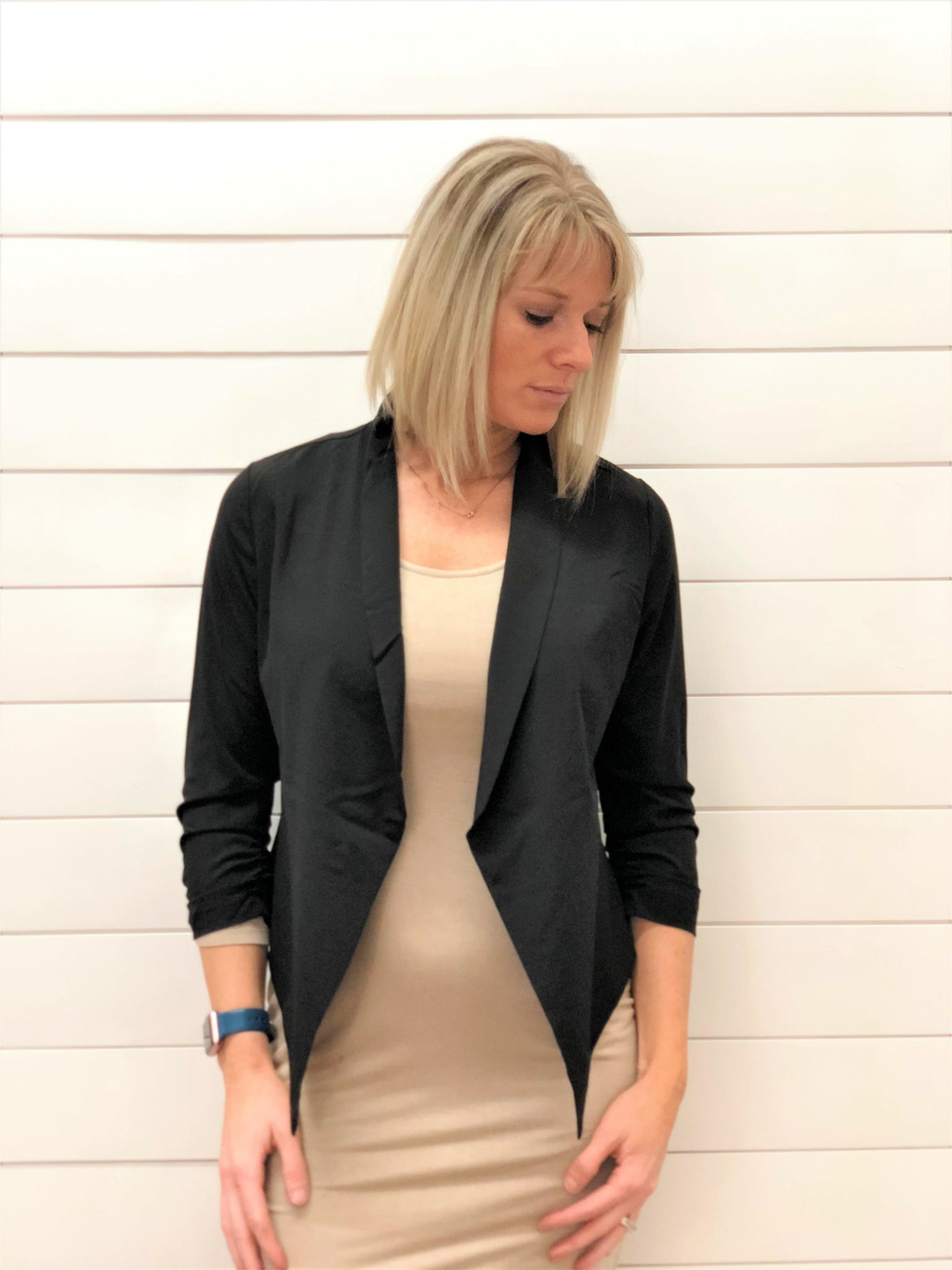 Sleek Open Front Blazer with Cinched Sleeves