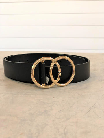 Classic Faux Leather Belt with Double O Ring Buckle