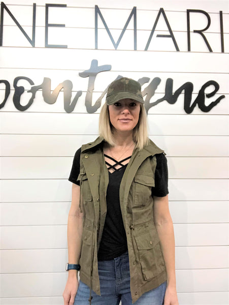 Button Down Hoodie Military Vest