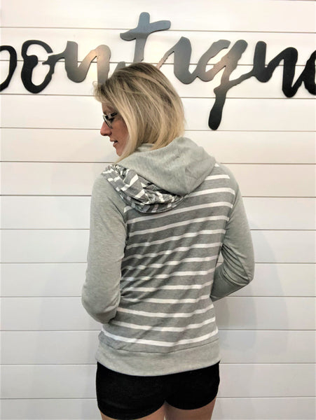 Striped Raglan Sleeve Double Hoodie with Thumb Hole