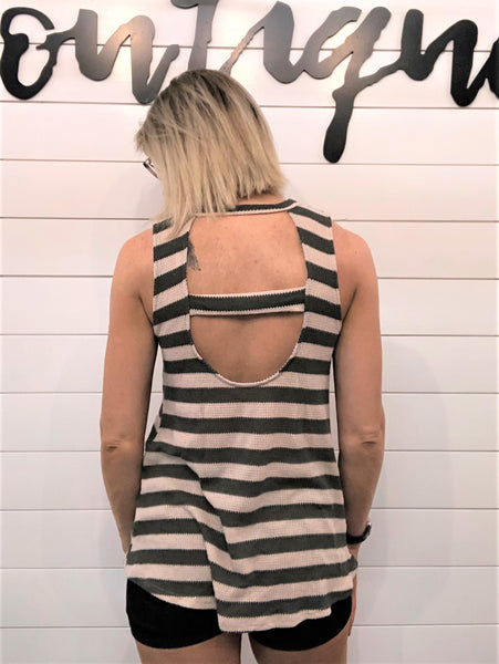 Stripe Print, Waffle Knit Top Featuring Crew Neckline, Sleeveless, Cutout Back and Curved Hem