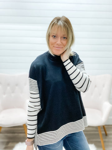 Poncho Style Knitted Sweater with Stripe Sleeve
