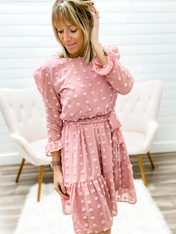 Beautiful Pink Long Sleeve Dress with Elastic Wrist Band
