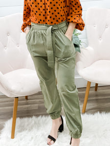 High Waisted Stylish Pants with Elastic Bands in Waist & Ankles with Self Tie Belt