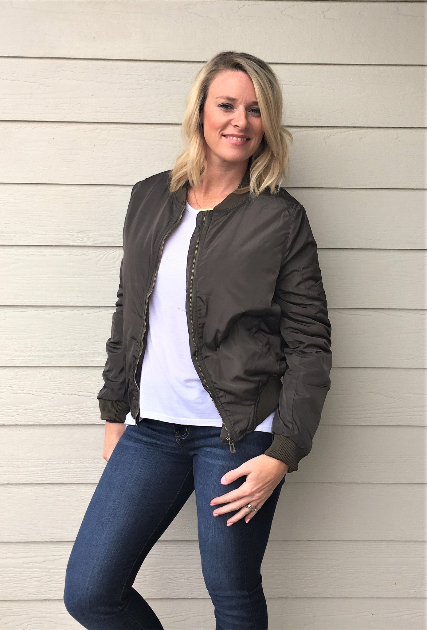 Classic Solid Zip Up Slim Bomber Jacket