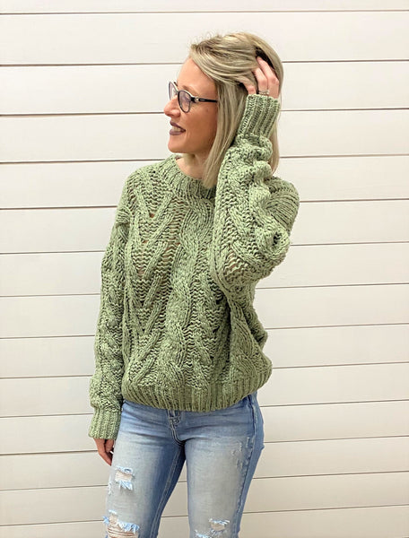 Long Sleeve Cable Knit Sweater Top