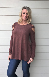 Brushed, Two-Tone Jersey, Cold Shoulder Top