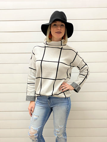 Plaid Pattern with High Neck Soft Sweater Top