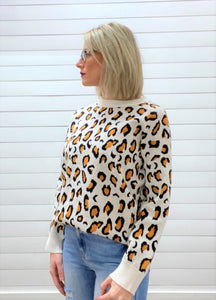 Leopard Pattern Crew Neck Knitted Sweater Top