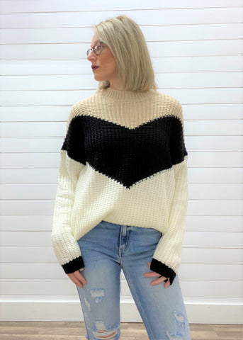 Chevron Pattern Color Block Loose Fit Knitted Pullover