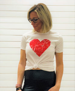 Distressed Red Valentine Heart Graphic Tee