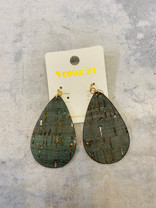 Olive Green Cork TearDrop Earrings