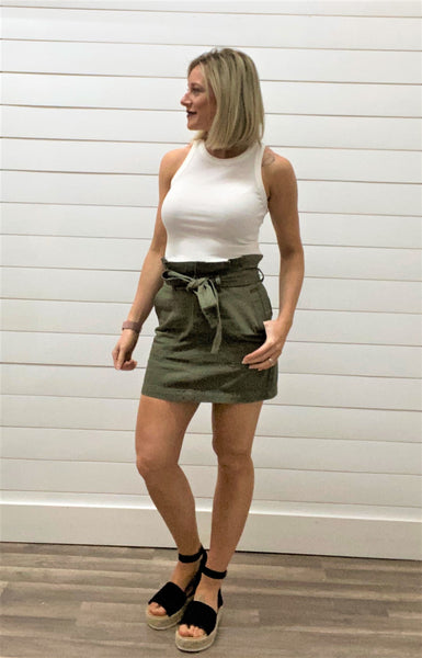High Waisted Belted Mini Skirt
