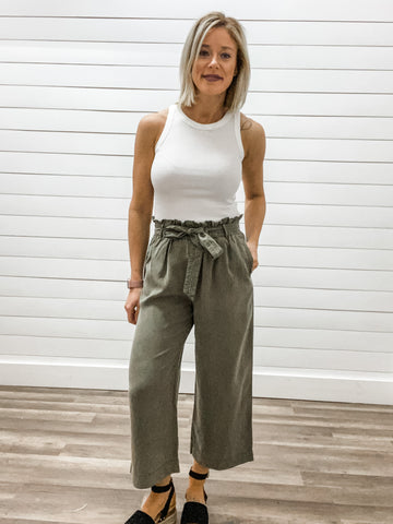 Washed Self-Tie Belted Tencel Pants