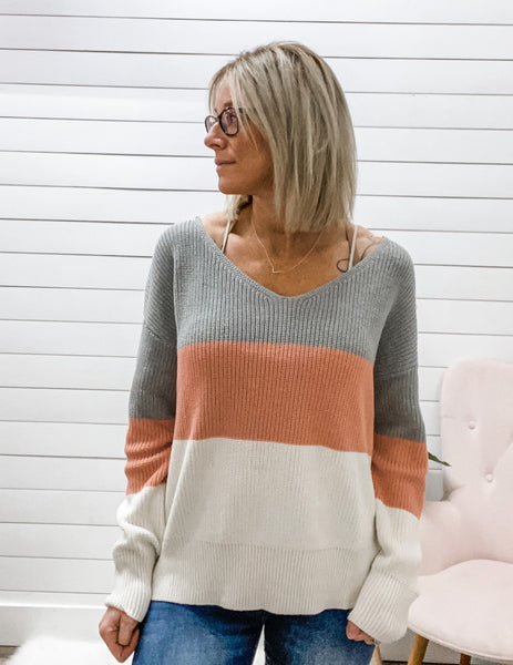 Twist Color Block Sweater