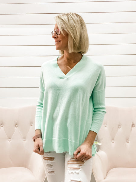 Long Sleeve V Neck Hi Low Knit Sweater Top