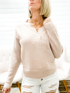 Long Sleeve Scalloped Surplice Fuzzy Knit Sweater Top